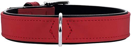 HUNTER SOFTIE Hundehalsband, Kunstleder, samtig, pflegeleicht, 50 (S-M), rot