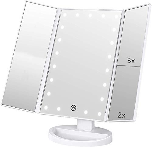 Specchio Trucco,Flymiro Specchio per Il Trucco con Luce 1x / 2X / 3X Trifold ingrandente 21 LED Touch Screen, Regolabile a 180° Specchio cosmetico per