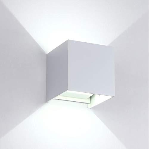 2 Pezzi Applique da Parete LED Lampada da Parete Esterno Moderno Interno 12W Bianco 6500k IP65 Lampada Muro Led Impermeabile Freddo Quadrata Alluminio su e Giù Regolabile Design Facile da Installare