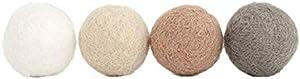 Etgu Creamy Dreamy Christmas Handmade Wool Felt Ball Garland Neutral Colored Garland White Cream Beige Gray 2.5 cm Balls