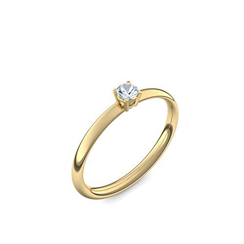 585 Goldring Aquamarin (sehr hochwertig!) + inkl. Luxusetui + - Goldringe Aquamarin Ringe (Gelbgold 585) - Concinnity Amoonic Größe 56 (17.8) AM161 GG585AQFA56