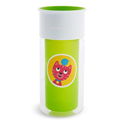 Munchkin Miracle 360 Customizable Insulated Sippy Cup, 9 Ounce, Green