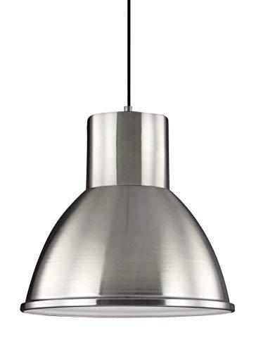 Sea Gull Lighting 6517401-962 Division Street One-Light Pendant Hanging Modern Light Fixture, Brushed Nickel Finish