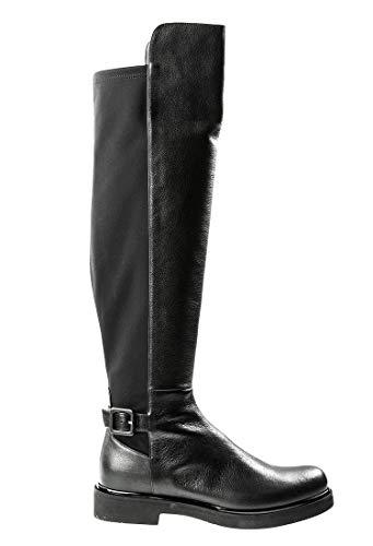 "Loriblu 6621 Black Leather/Stretch 1"" High Heel Italian Designer Women Fashion Boots"
