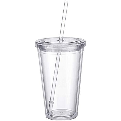 Plastikbecher Mehrweg doppelwandig Tasse Becher Deckel mit Mehrweg Strohhalm Smoothie Saft Kaffee Eiskaffee (Transparent)