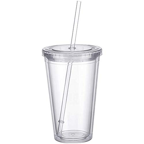 noTrash2003 Plastikbecher doppelwandig Tasse Becher Deckel Strohhalm Smoothie Saft Kaffee Eiskaffee (Transparent)