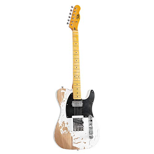Fame E-Gitarre im TL-Stil mit Ulme-Korpus, Keramik Single Coil und Humbucker, Worn Out Weiß, Vintage Style
