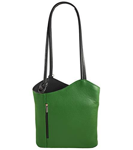 Freyday 2 in 1 Handtasche Rucksack Designer Luxus Henkeltasche aus Echtleder in versch. Designs (Glattleder Grün-Schwarz)