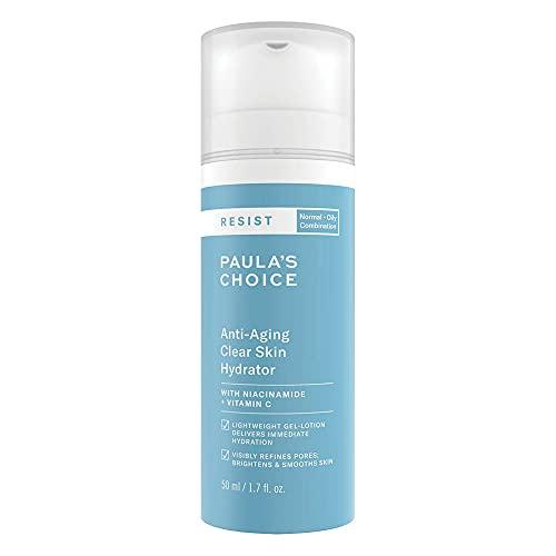 Paula's Choice Resist Anti Aging Clear Skin Feuchtigkeitscreme - Leichte Lotion Nachtcreme - Anti Falten & Reduziert Pickel mit Vitamin C & Niacinamid - Mischhaut bis Fettige Haut - 50 ml