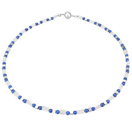 Funk-Collier Edelsteinschmuck Lapis Lazuli, Bergkristall, Magnetschloss, ca. 46 cm