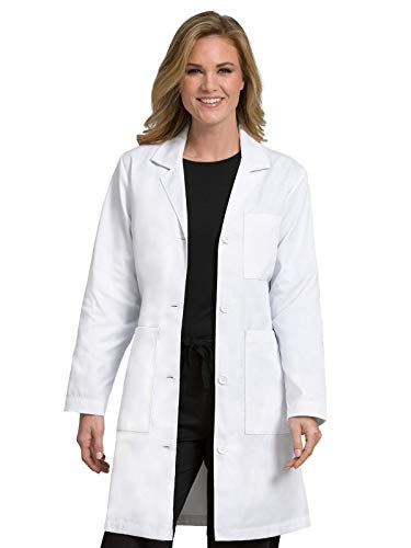 Med Couture Women's Lab Coat 37 Inch White Labcoat Long, Size L