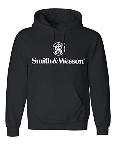 Smith and Wesson Mens Solid Logo Long Sleeve Cotton Hooded Sweatshirt, Size XX-Large, Black