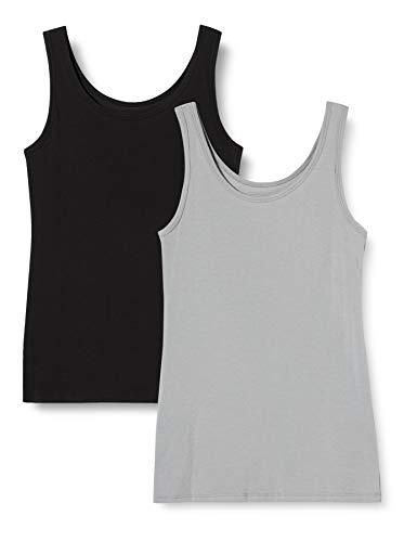 Iris & Lilly Damen Unterhemd aus Baumwolle, 2er-Pack, Mehrfarbig (Schwarz/Grau), L, Label: L