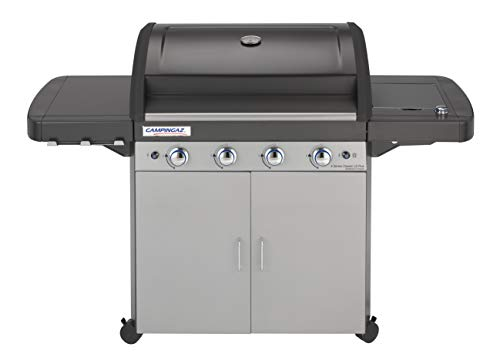 Campingaz 4 Series Classic LS Plus Gas BBQ 4 Burner Gas Barbecue Grill 12.8 KW Power Instaclean Easy Cleaning System Cast Iron Grid and Griddle with Side Burner, Black/Grey, 160 x 59.8 x 115.6 cm