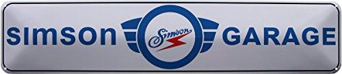 SIMSON GARAGE OSTALGIE DDR MOPED 46x10 BLECHSCHILD STRASSENSCHILD STR195