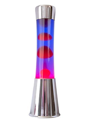 Fisura LT0496 Lámpara Grande de Lava Magma con Liquido Morado | Lámpara de Lava Original Color Plateado Cromado, 40 cm