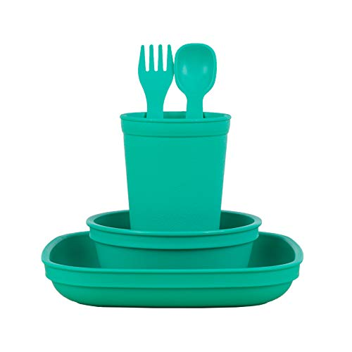 Re-Play Made in The USA Eco Friendly Dinnerware Set for Toddlers and Children - Drinking Cup, Deep Walled Plate, Bowl, Spoon & Fork Set (Aqua)