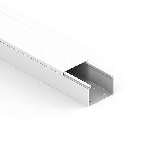 Habengut Kabelkanal (mit Montagelochung im Boden) 40x60 mm aus PVC, Farbe: Weiß, Länge 1 m