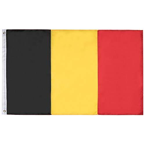 Lixure Belgien Flagge/Fahne 90x150cm Top Qualität Europa Länder Nationalflaggen - Durable 210D Nylon Draußen/Drinnen Dekoration Flagge MEHRWEG