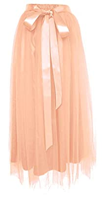 Dancina Women's Ankle Length Tutu Maxi A-line Long Tulle Skirt for Dates Weddings