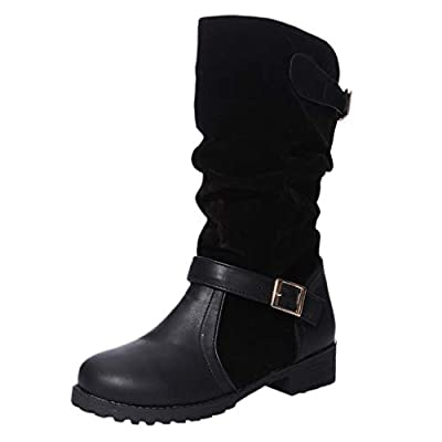 Gleamfut Womens Snow Boot Winter Pure Color Strap Buckle Slip-On Platform Warm High Boots