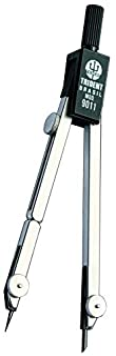 Compasso Técnico Compacto com Haste Prolongadora, Trident, 9011, Cromo Fosco, Traça Circunferências de Até 38 cm