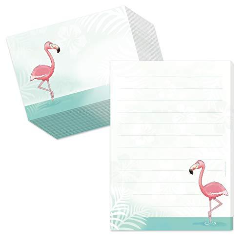 Bloc à lettres « Flamingo » - Ligné (50 feuilles) - Avec 20 enveloppes assorties - Pour enfant et fille - Format A5