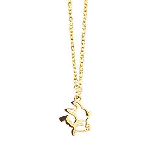 Jcveghyg Cartoon Pokémon Mini Pikachu Titane Acier Plaqué Or Collier Dames Simple CourtPlaquéOr18KChaîne Clavicule