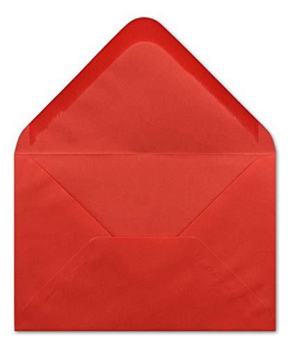50 DIN B6 Briefumschläge Rot - 12,0 x 17,5 cm - 90 g/m² Nassklebung Post-Umschläge ohne Fenster für Hochzeit, Weihnachten & Einladungskarten