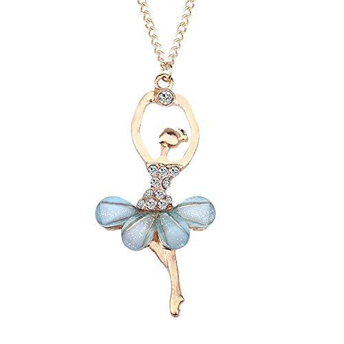 Gespout Collar Delicado para Mujer Collar de Dama Collar de Aleación Crystal Ballet Dancing Girl Collar Colgante Baile Moda Diamante Collar Señoras Accesorios Azul claro