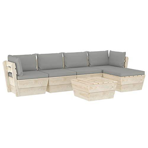 Tidyard Conjuntos Sofa Exterior Patio Muebles de jardín de palets 6 Piezas y Cojines Madera de Abeto 1#