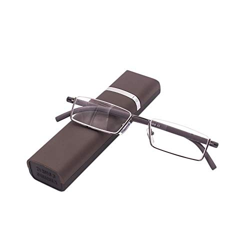 Lesebrille mit Ultraleichtem TR90 Rahmen Lesehilfe Halbbrille aus Metallrahmen mit Halbrahmen Sehehilfe mit Brillenetui für Damen und Herren(Braun,+2.0)