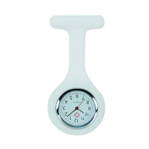 Joyfeel Buy - Reloj de bolsillo para enfermera, de silicona, con broche y cierre de clip, de acero inoxidable (Blanco)