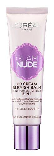 L'Oréal Paris Glam Nude 5in1 BB Cream Blemish Balm Mittlerer Hauttyp, Teint-Perfektionierer für...