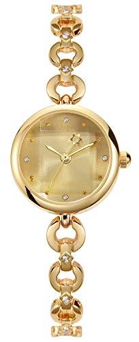Reloj de Pulsera Elegante y Simple Relojes de Mujer Plata/Dorado Reloj de Pulsera fluida Diamantes de imitación Encantador (Dorado)