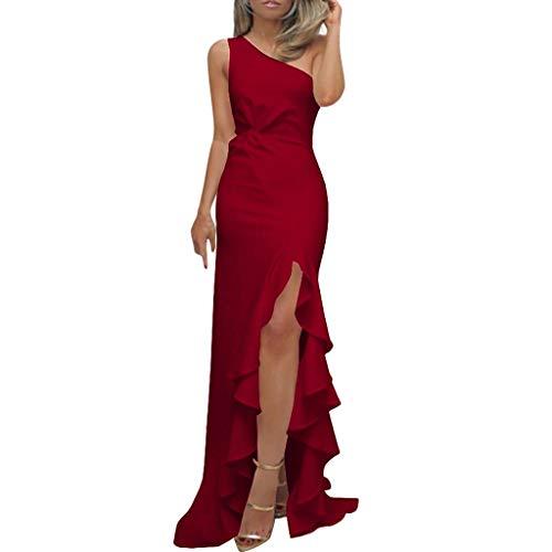 Transwen Damen Lang Kleider, Sexy Rüschen formales Abendkleid geschlitzt Schulterfrei Maxi Kleider Party Ärmellos Kleid für Hochzeit Partei (L, Rot)