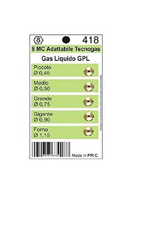 Kit de 5 buses pour injecteurs Tecnogas 8 MC gaz bouteille GPL plan de cuisson