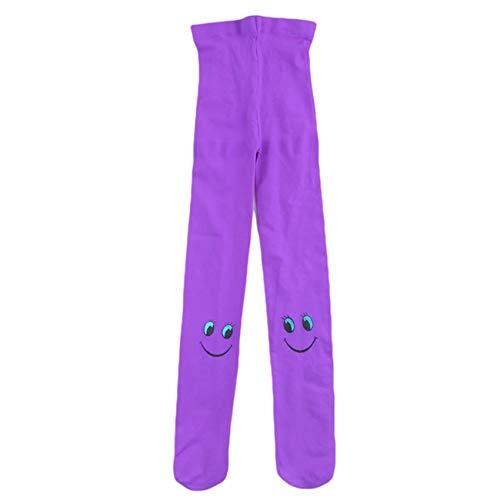 Generic QIWei Süßigkeiten Farbe Smiley Gesichtsmuster Ballett Tanz Strumpfhosen, Ballett Tanz Socken für Mädchen Kinder Frauen,lila