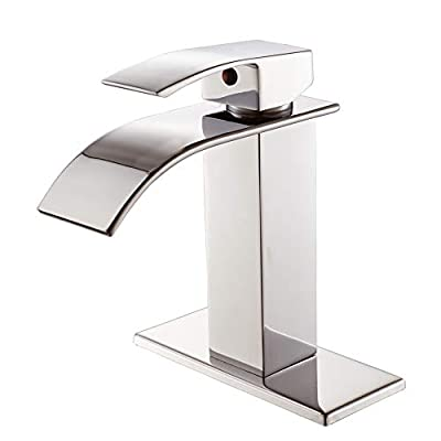 VOTON Waterfall Bathroom Faucet Matte Black?Single Handle Lavatory Faucet One Hole with Deck Mount