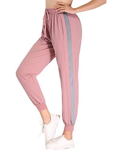 Hawiton Damen Sporthose Streifen Freizeithose Jogging Hose Traininghose Fitness High Waist Lang Baumwolle (Pink-12, Medium)