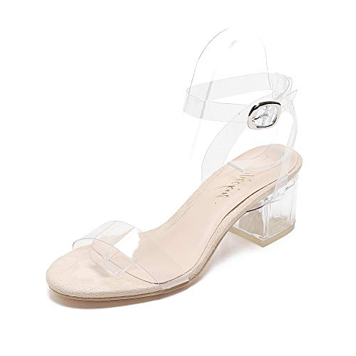 Mackin Girl G547-1 Women's Ankle Strap Clear Sandals Low Block Heel Transparent Shoes Nude 9