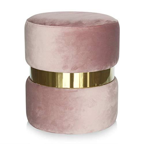 Flanellen Vanity Kruk met RVS Ring/Moderne Ronde Dressing Tafel Kruk/Gestoffeerde Stoel Poef voor Woonkamer, Slaapkamer