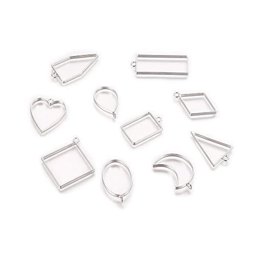 10 ciondoli a forma di cornice in resina con cornici aperte in metallo per fiori pressati, gioielli, orecchini, collane, fai da te, varie forme (bianco K)