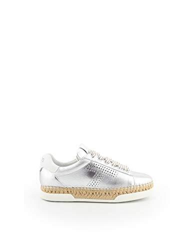 Tod's Luxury Fashion Damen XXW96A0Y550J150906 Silber Leder Sneakers | Jahreszeit Permanent