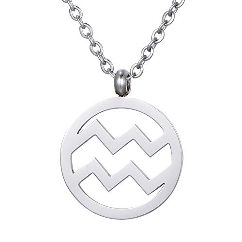 Morella Collar Acero Inoxidable Plata con Colgante Signo del Zodiaco Acuario en Bolsa de Terciopelo