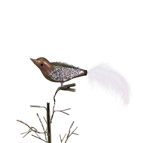 Voss 3 stuks glazen vogeltjes, taupe met veren, 3,5 cm x 16 cm, prijs voor 3 stuks