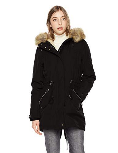 Royal Matrix Women's Warm Winter Parka Coat Hooded Sherpa Lined Winter Jacket with Zip Pockets (Black, 12)