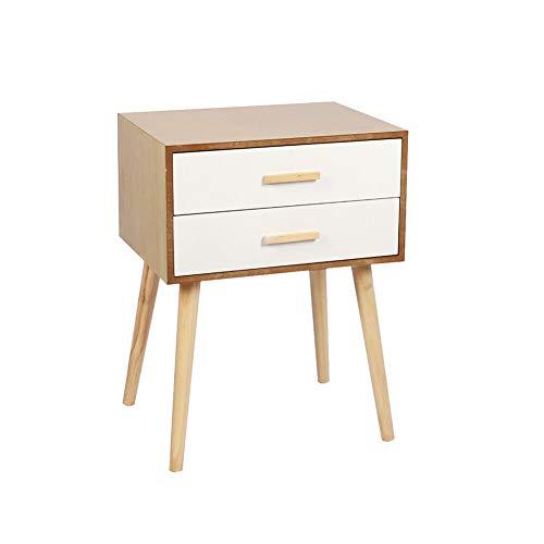 Ruication Modern nachtkastje opbergruimte slaapkamer kist van 2 lade houten kast houten meubels locker zijtafel ladekast voor slaapkamer woonkamer hal wit