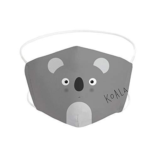 Pekebaby Mascarilla Infantil de tela lavable reutilizable 2 capas + bolsillo con 1 filtro incluido, diseño 007 KOALA, doble ajuste elástico