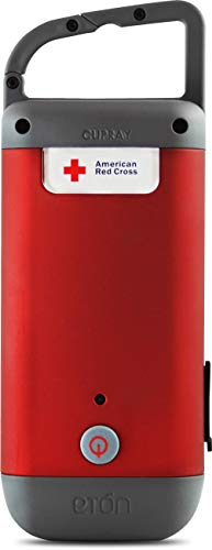 Eton - ARCCR100R_SNG American Red Cross Clipray Crank-Powered, Clip-On Flashlight & Smartphone Charger, Red Red